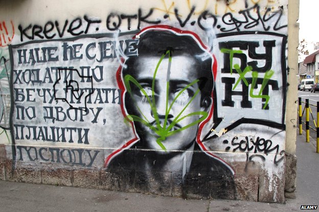 Graffiti of Gavrilo Princip in Belgrade, Serbia