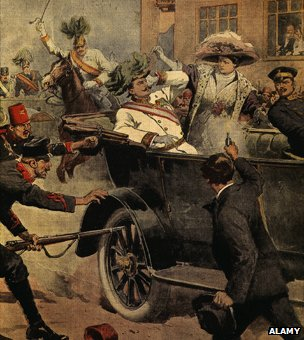 Assassination of Franz Ferdinand, 1863-1914 Archduke of Austria, and his wife Sophie, in Sarajevo, Bosnia, 28 June 1914