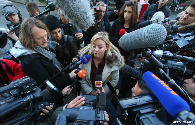 Schumacher family spokeswoman Sabine Kehm outside Grenoble hospital in January