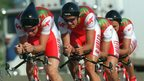 Victoria 1994: The Wales men's cycling team in action during the team time trial.