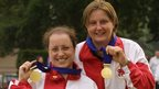 Manchester 2002: Ceri Dallimore and Johanne Brekke celebrate gold in the women's smallbore rifle prone pairs.