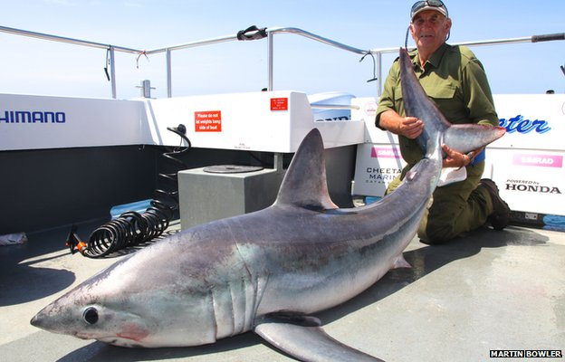 George Woodward with the shark