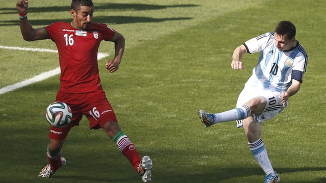 Argentina's Lionel Messi scores the winning goal against Iran