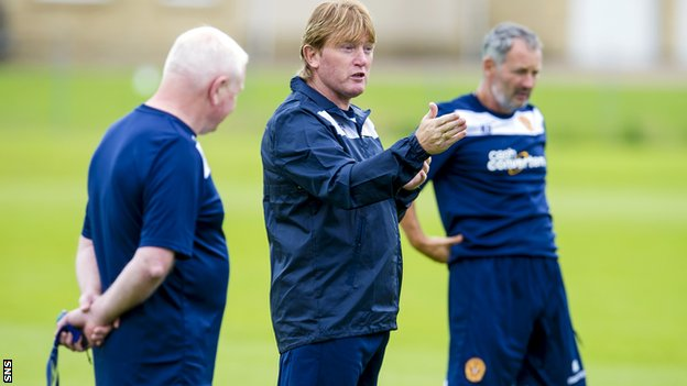 Stuart McCall with his backroom team as Motherwell return for pre-season training