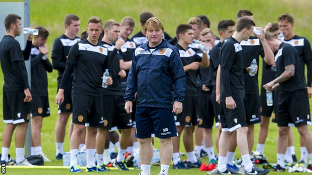 Motherwell manager Stuart McCall takes his side for pre-season training