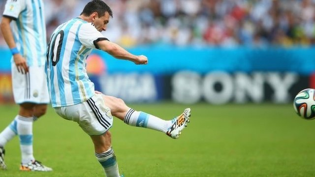 Lionel Messi puts Argentina back into the lead from a set piece