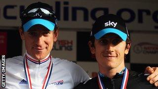 Wiggins and Thomas on the podium