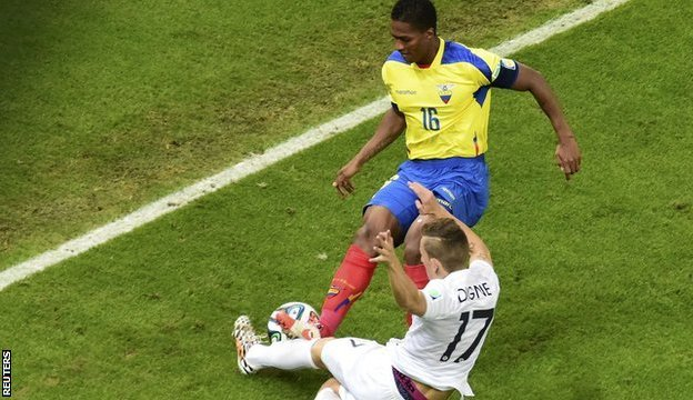 Ecuador captain Antonio Valencia was red carded during the game against France for this challenge on Lucas Digne