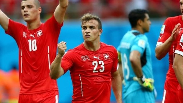 Switzerland go marching on thanks largely to hat trick hero Xherdan Shaqiri