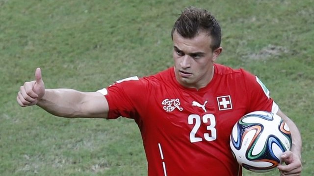Xherdan Shaqiri takes home the match ball