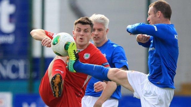 Irish League football action