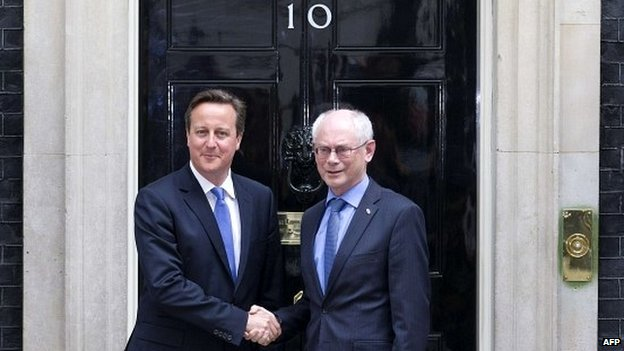 David Cameron shakes hands with President of the European Council, Herman Van Rompuy outside 10 Downing Street - 23 June 2014