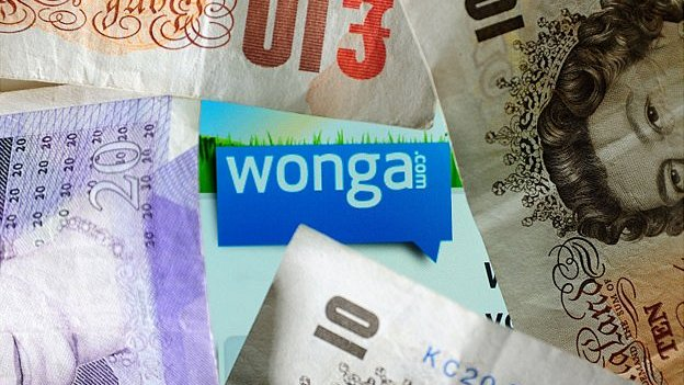 File photo of sterling notes over the logo of website Wonga.com