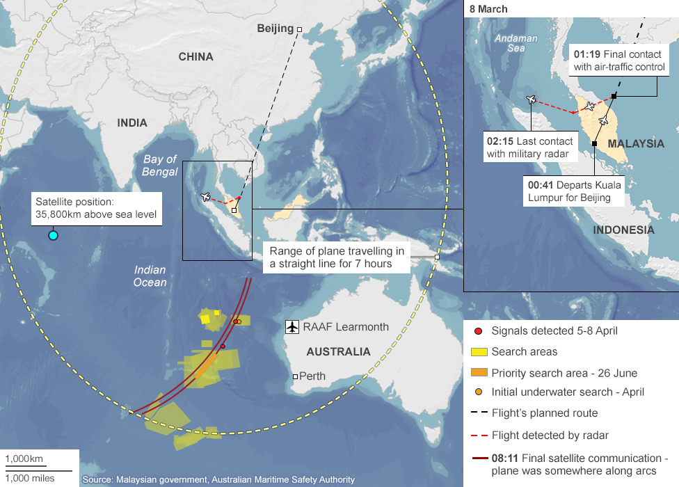Map showing the last-known movements of flight MH370