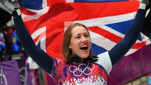 Great Britain's Lizzy Yarnold celebrates winning her gold medal in Sochi