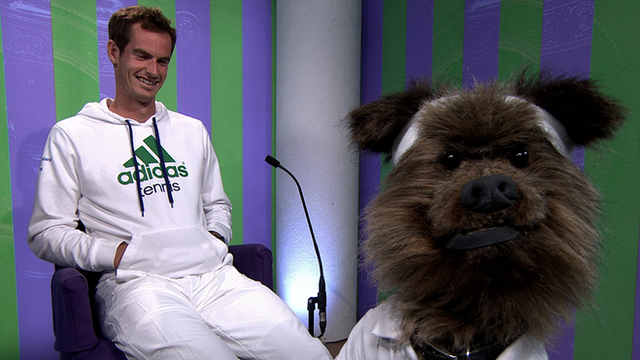 Wimbledon 2014: BBC's Hacker the Dog meets Andy Murray
