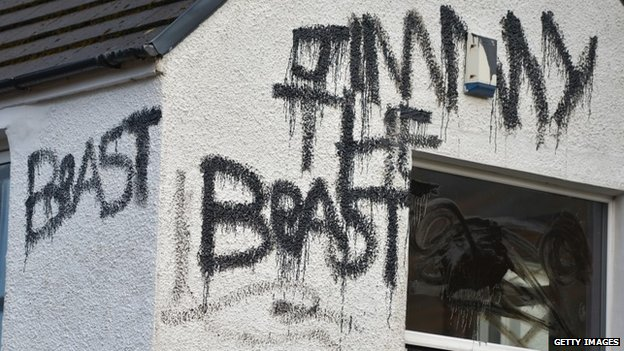 Graffiti on a cottage owned by Jimmy Savile in Glen Coe