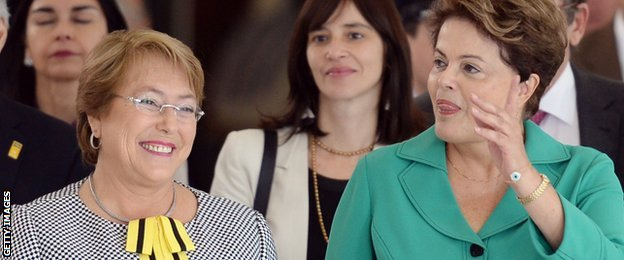 Michelle Bachelet and Dilma Rousseff