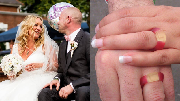 Natalie Norris-Lee and David Norris with Haribo rings
