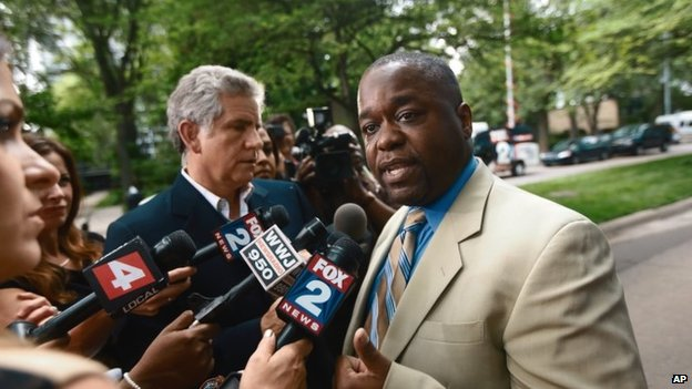 Charles Bothuell IV speaks to the media after finding out that his son, Charlie Bothuell V was found alive in the basement of his home in Detroit 25 June 2014