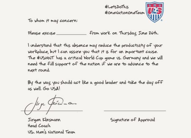 Klinsmann note