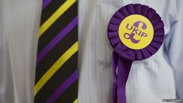 Man wearing UKIP rosette