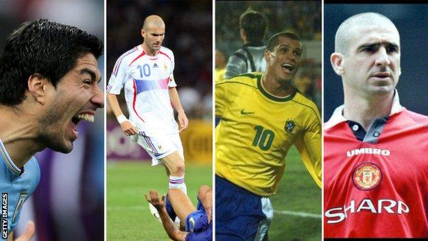 Luis Suarez, Zinedine Zidane, Rivaldo, Eric Cantona