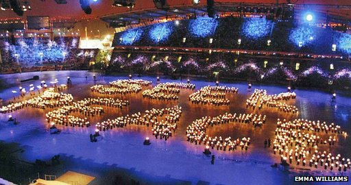 Seek Peace sign spelt out by people at Manchester closing ceremony