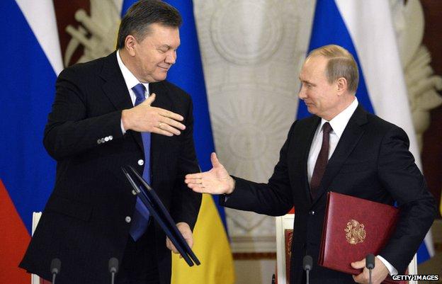 Ukraine's then President Viktor Yanukovych with President Vladimir Putin in Moscow (Dec 2013)