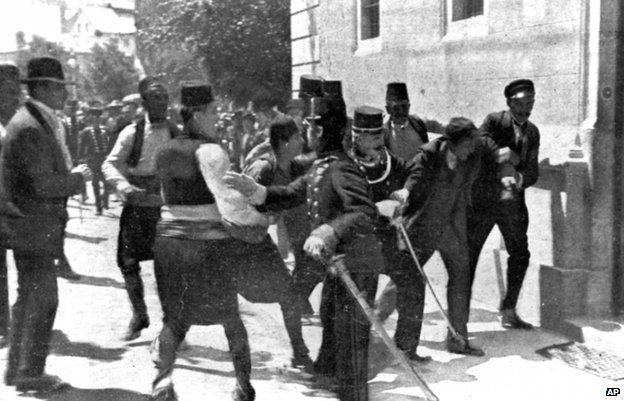 Gavrilo Princip (2nd R) is arrested moments after the assassination of Archduke Franz Ferdinand
