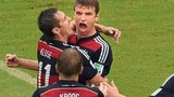 Thomas Muller celebrates his goal