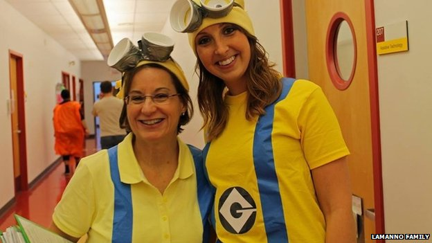 LaManno, shown with Brianna Sage, an occupational therapy student, in October 2013, worked with visually impaired children