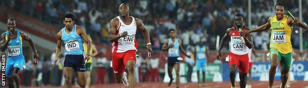 Jamaica win silver behind England in the men's 4x100m in Delhi
