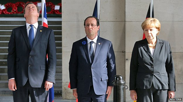 David Cameron, France's President Francois Hollande and Germany's Chancellor Angela Merkel at a ceremony in Ypres