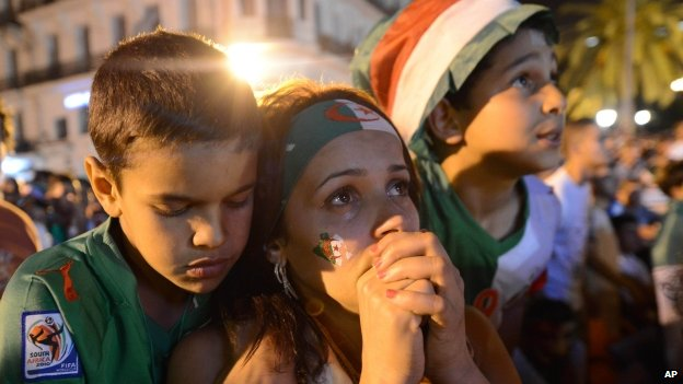 Algerian football fans watch the Algeria-Russia game at the World  Cup in Algiers - 26 June 2014