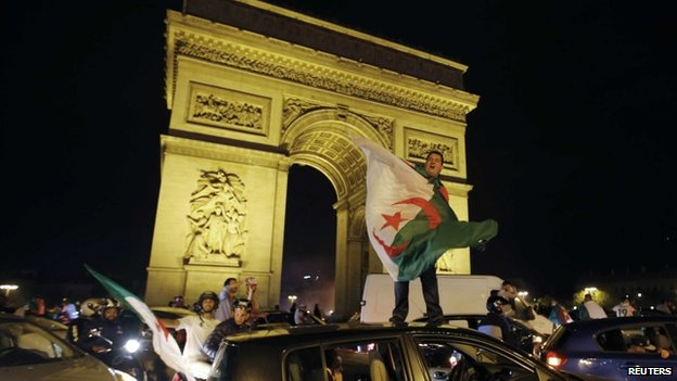 Algerian football fans celebrate in Paris, France - 26 June 2014
