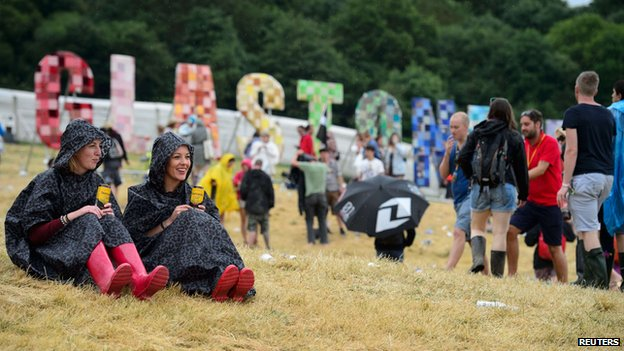 Festival-goers at Glastonbury 2014