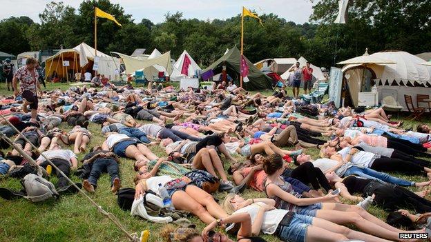 Festival-goers at Glastonbury 2014