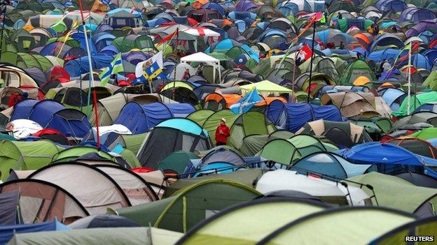 Tents at Glastonbury 2014