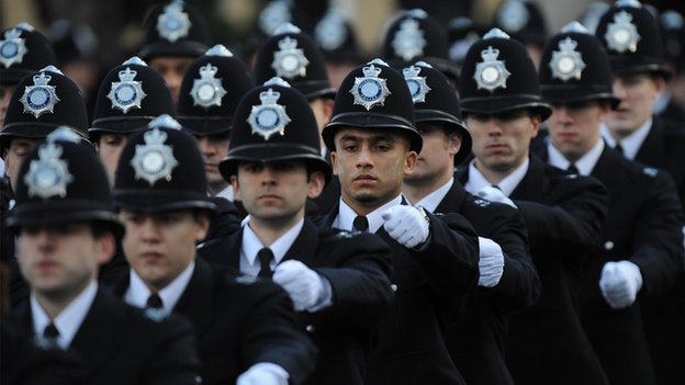 Newly qualified police officers take part in a passing out parade