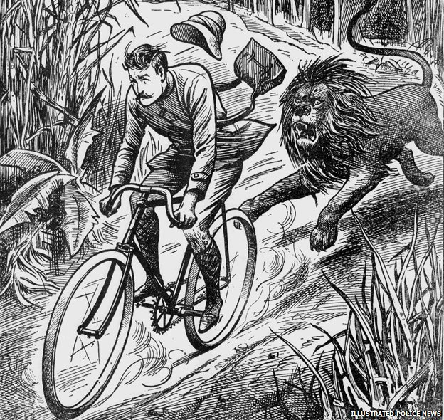Man on bike being chased by a lion
