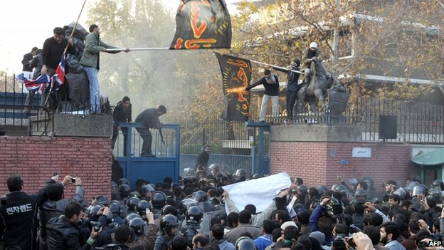 Iranian protesters force their way into the British embassy in Tehran