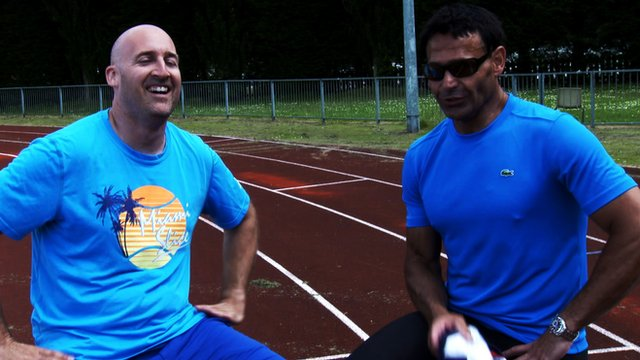 Jez Green and Roger Rasheed sprint for charity