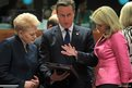 Lithuania's President Dalia Grybauskaite (left) talks with British Prime Minister David Cameron and Denmark's Prime Minister Helle Thorning-Schmidt