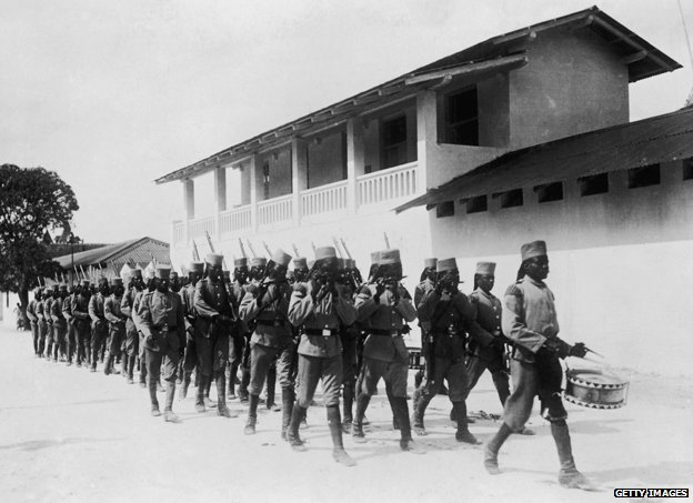 Locally recruited troops under German command in Dar Es Salaam, Tanzania (then part of German East Africa), circa 1914