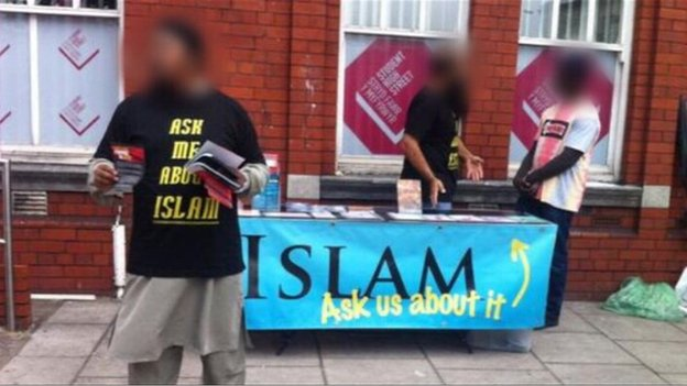 A man speaking outside Cardiff University in March in video published by the now banned extremist group Islamic Dawah Association