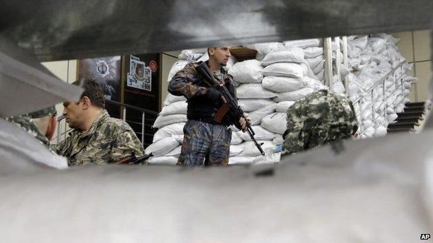 Pro-Russian militants in Donetsk, 27 June