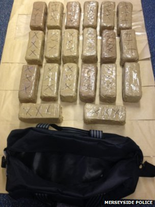 About 44lb (20kg) of heroin that was found in a holdall