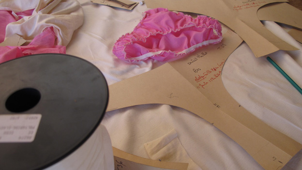 A pair of French knickers on a table with the cardboard patterns