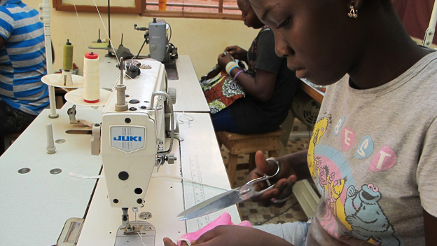 A seamstress at the Copromof workshop in Ouagadougou, Burkina Faso